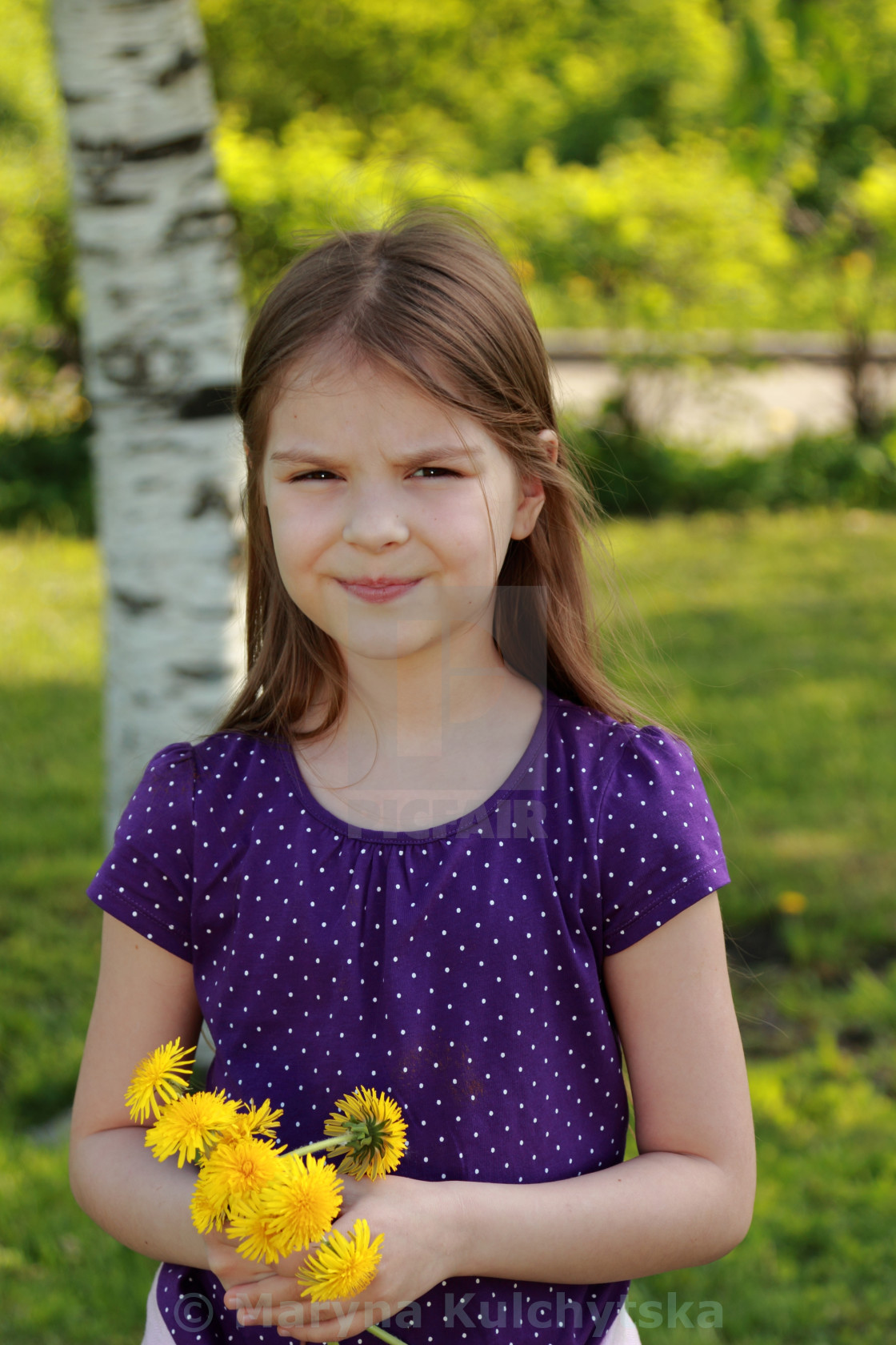 """girl with bouquet of dandelions"" stock image"