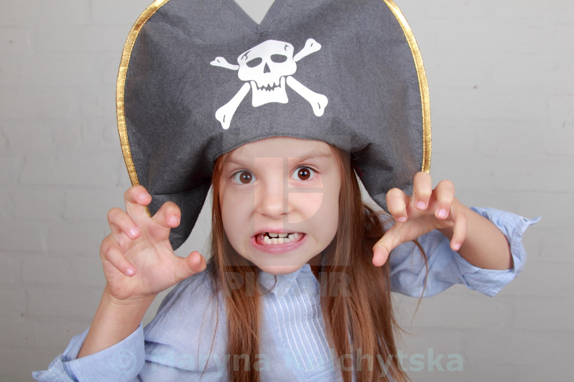 """""""Image of a beautiful young girl in the role of an evil pirate terrible on..."""" stock image"""