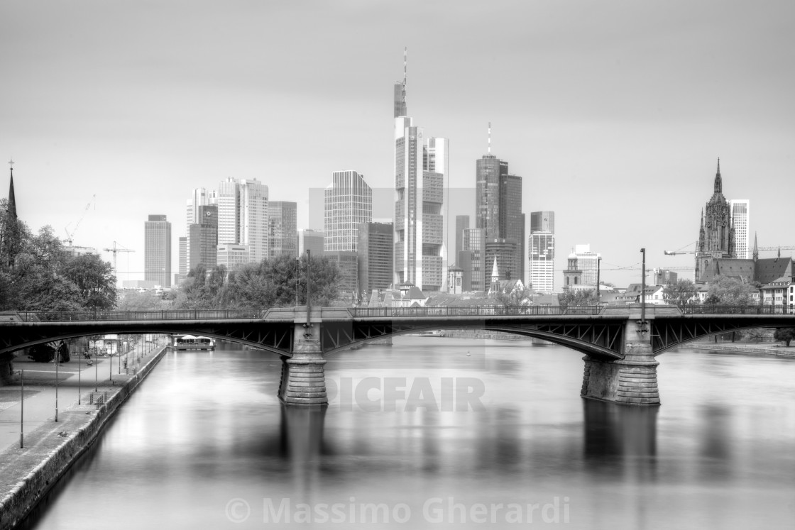 """Frankfurt am Main Skyline in Black and White"" stock image"