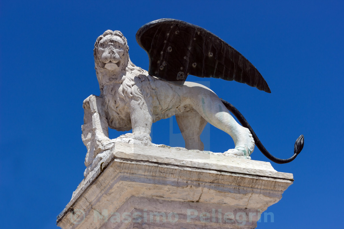 """Winged lion of Venice standing on a column"" stock image"