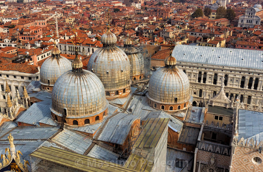 """""""View from above of the domes of St. Mark's church in Venice"""" stock image"""