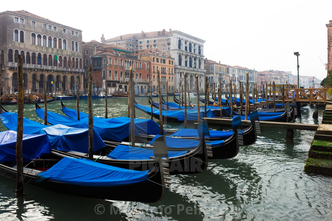 """""""Gondolas moored along the Grand Canal in Venice"""" stock image"""