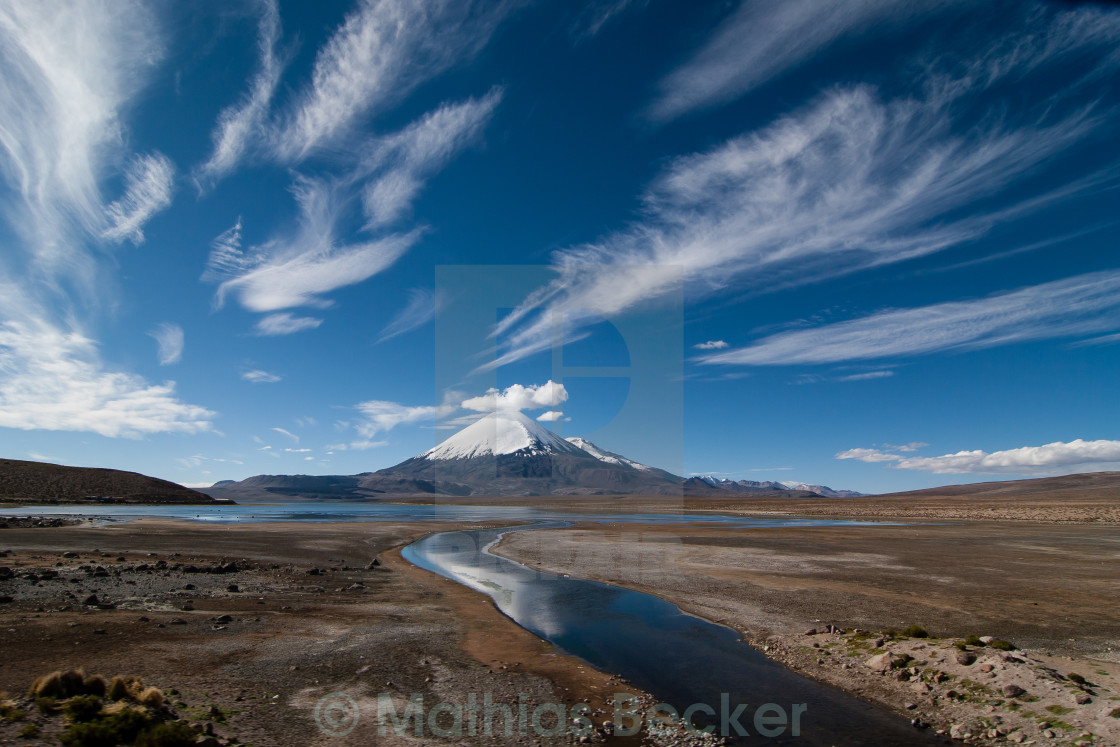 """Parinacota under the sky"" stock image"