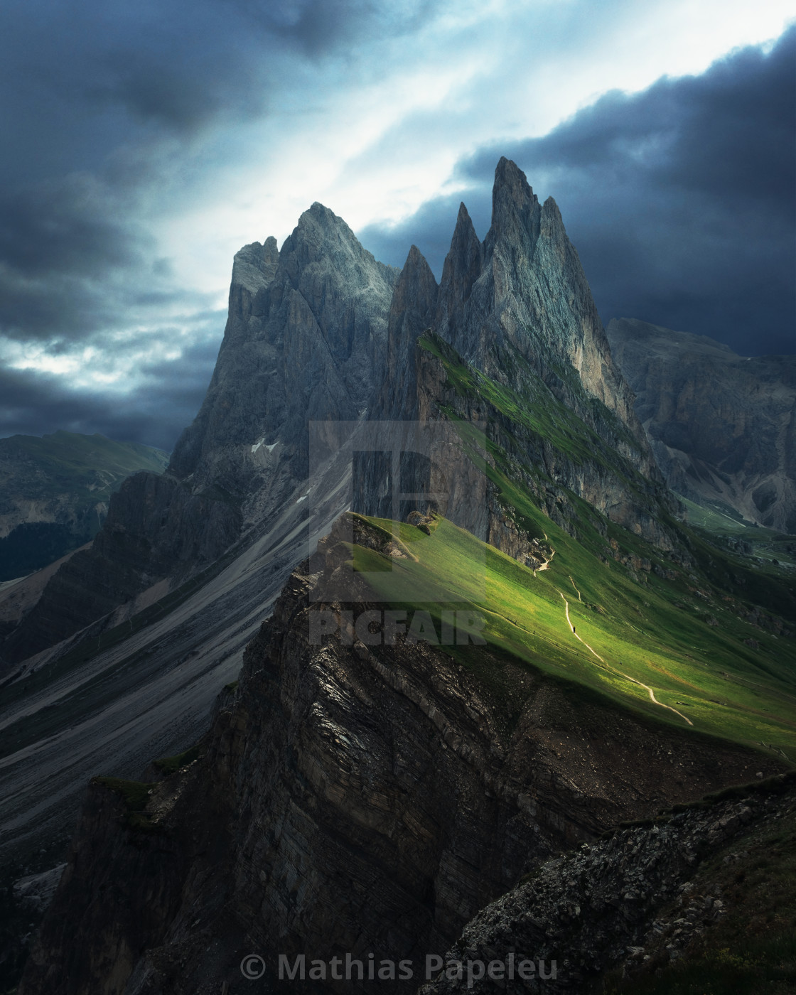 """Dark and moody mountains with dark skies"" stock image"