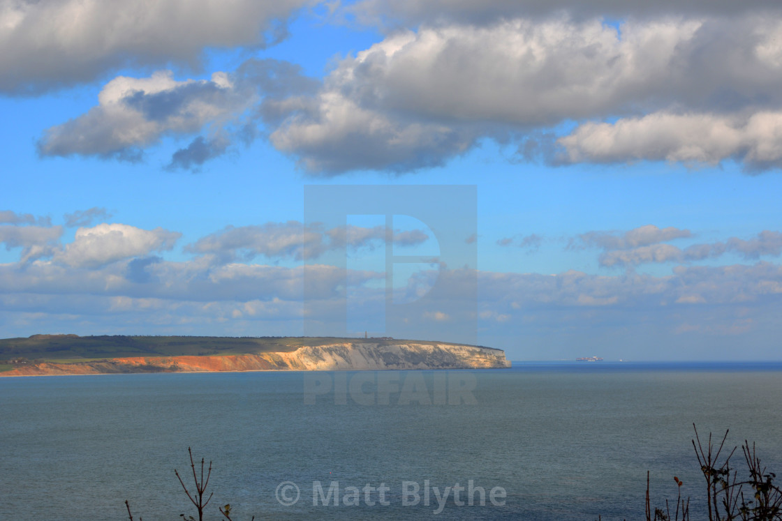 """Illuminated Cliff at Sandown Bay"" stock image"