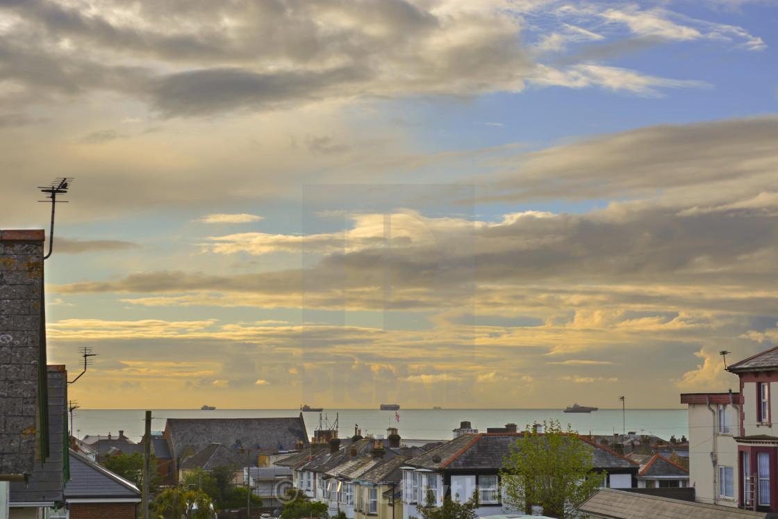 """Sunset Sky Over Sandown"" stock image"