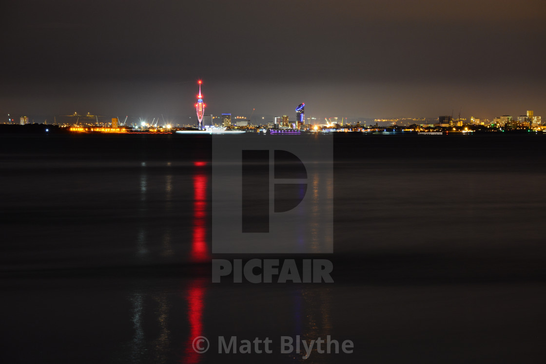 """""""Spinnaker Tower and Portsmouth City Skyline at Night"""" stock image"""