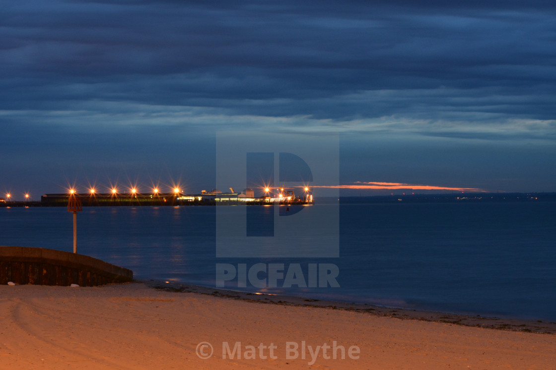 """""""Ryde Pier Head During Blue Hour"""" stock image"""