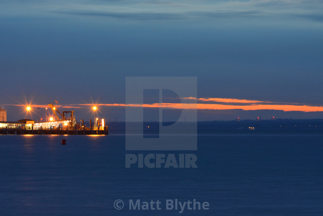 """Ryde Pier Head at Dusk"" stock image"