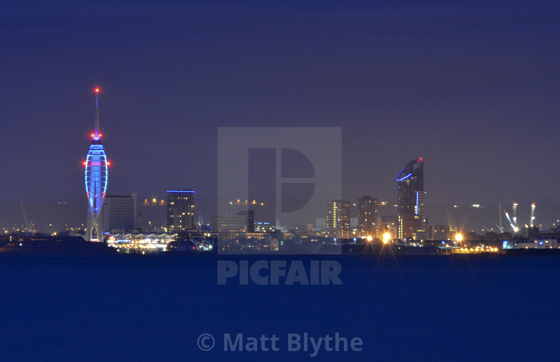 """""""Portsmouth City Skyline During Blue Hour"""" stock image"""