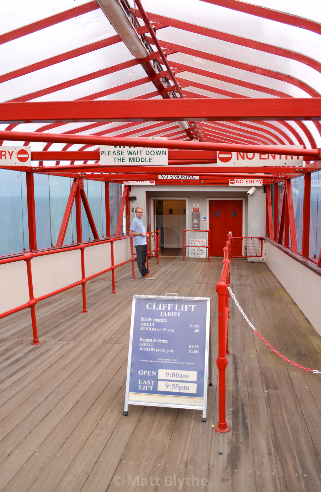 """""""Upper Entrance and Attendant at Shanklin Lift"""" stock image"""