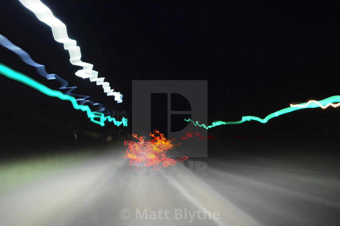 """Moving Light Trail Perspective"" stock image"