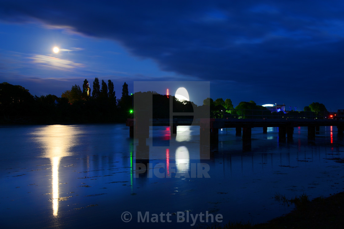 """Full Moon Rising Over Isle of WIght Festival"" stock image"