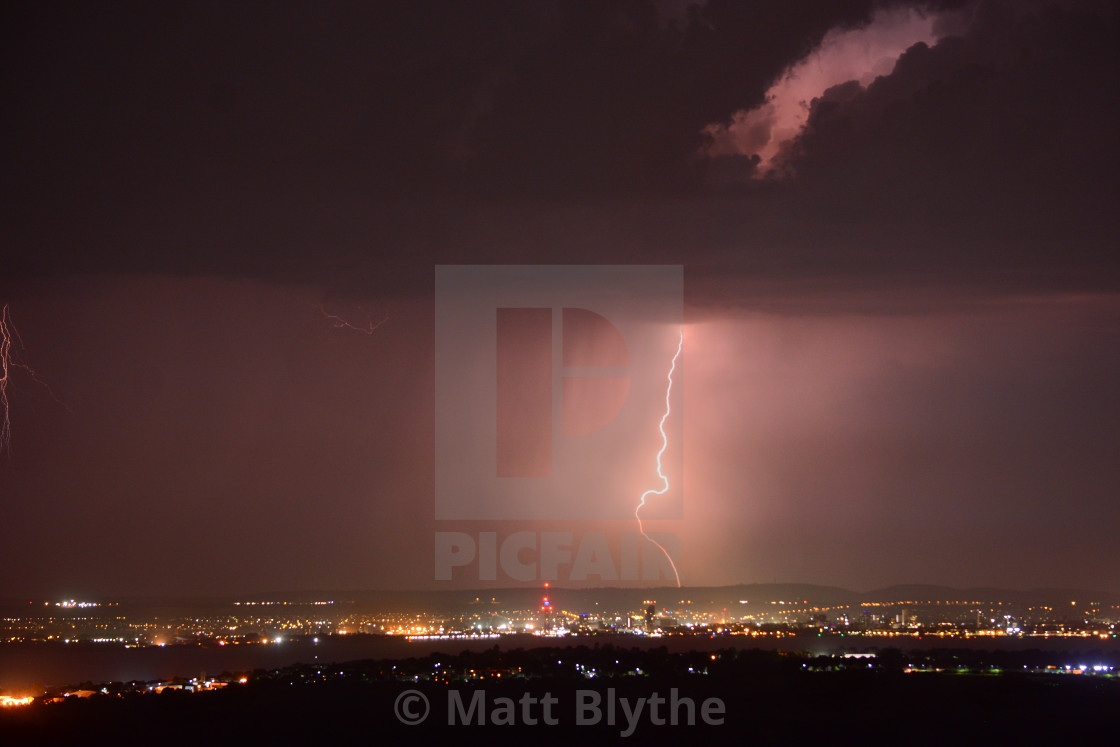 """Lightning Strike Over Portsmouth Near Spinnaker Tower UK"" stock image"