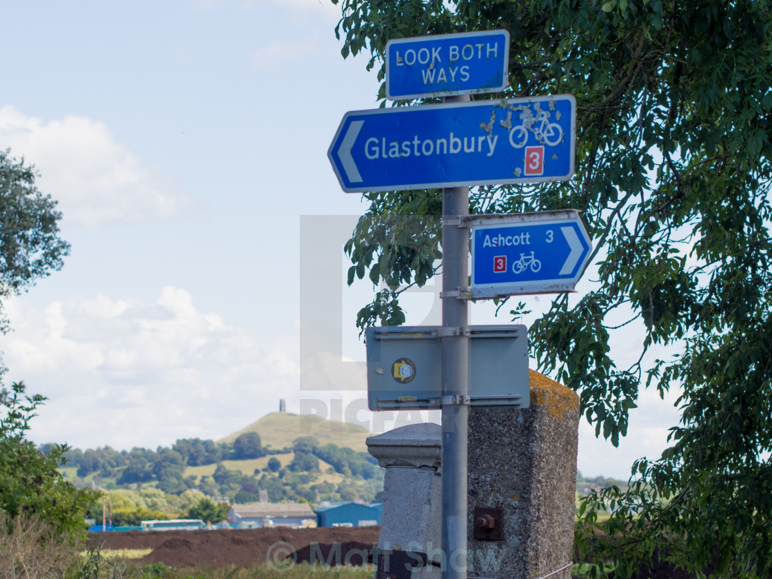 """Glastonbury This Way"" stock image"