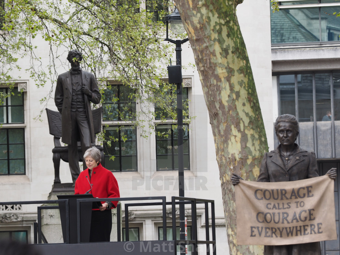 """""""Theresa May speech at unveiling of Millicent Fawcett Statue"""" stock image"""