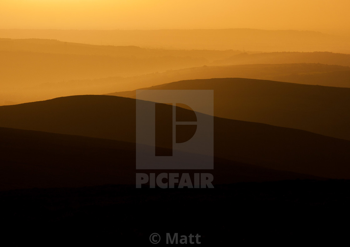 """""""Mill Hill Sunset Looking Towards Cheshire"""" stock image"""