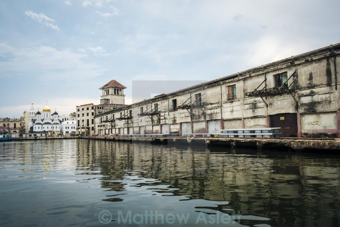 """""""The old docks in Old Havana Cuba"""" stock image"""