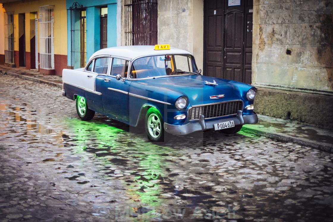 """An old American car in Trinidad Cuba"" stock image"