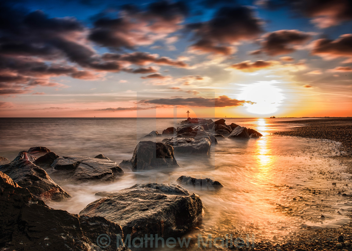 """Christmas day Sunset Off the English Coast"" stock image"