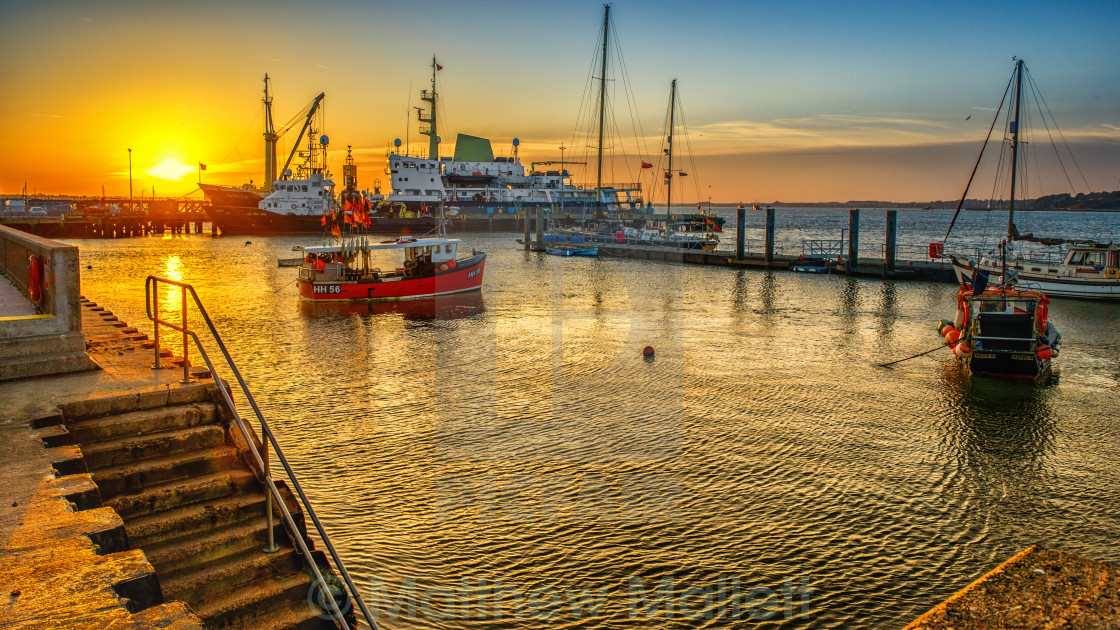 """Moored Craft off Harwich Pier"" stock image"