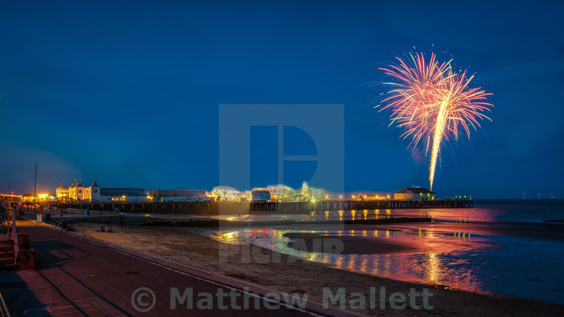"""Clacton Pier Fireworks July 2016"" stock image"