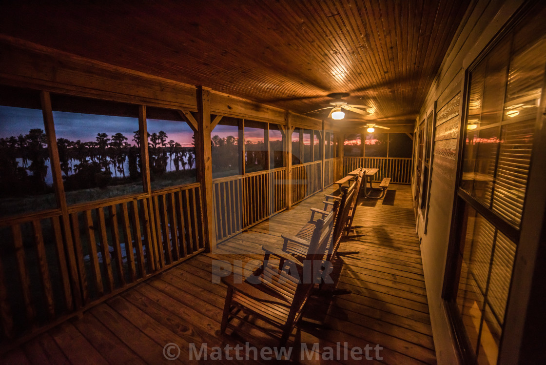 """Lake Louisa Florida Cabin Sunset Comfort"" stock image"