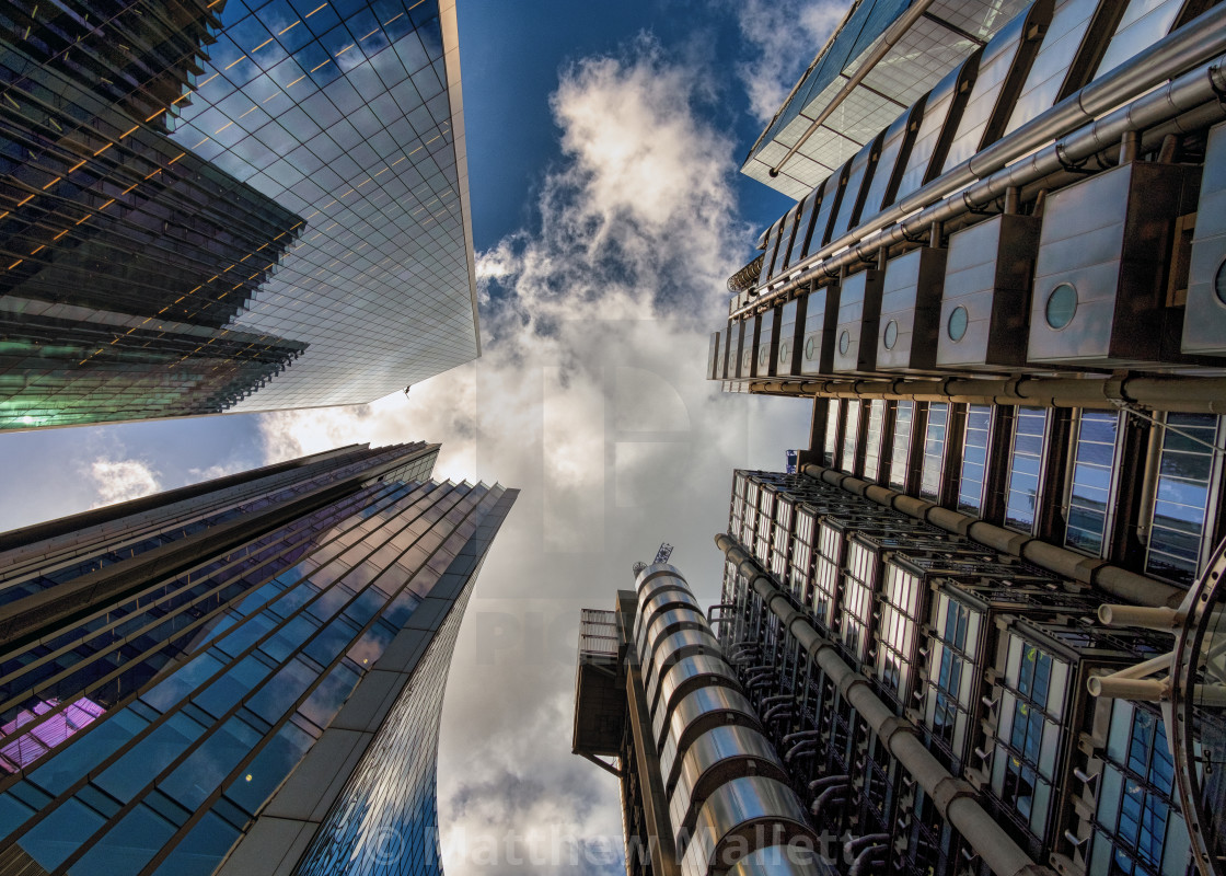 """London Financial District Sky view"" stock image"