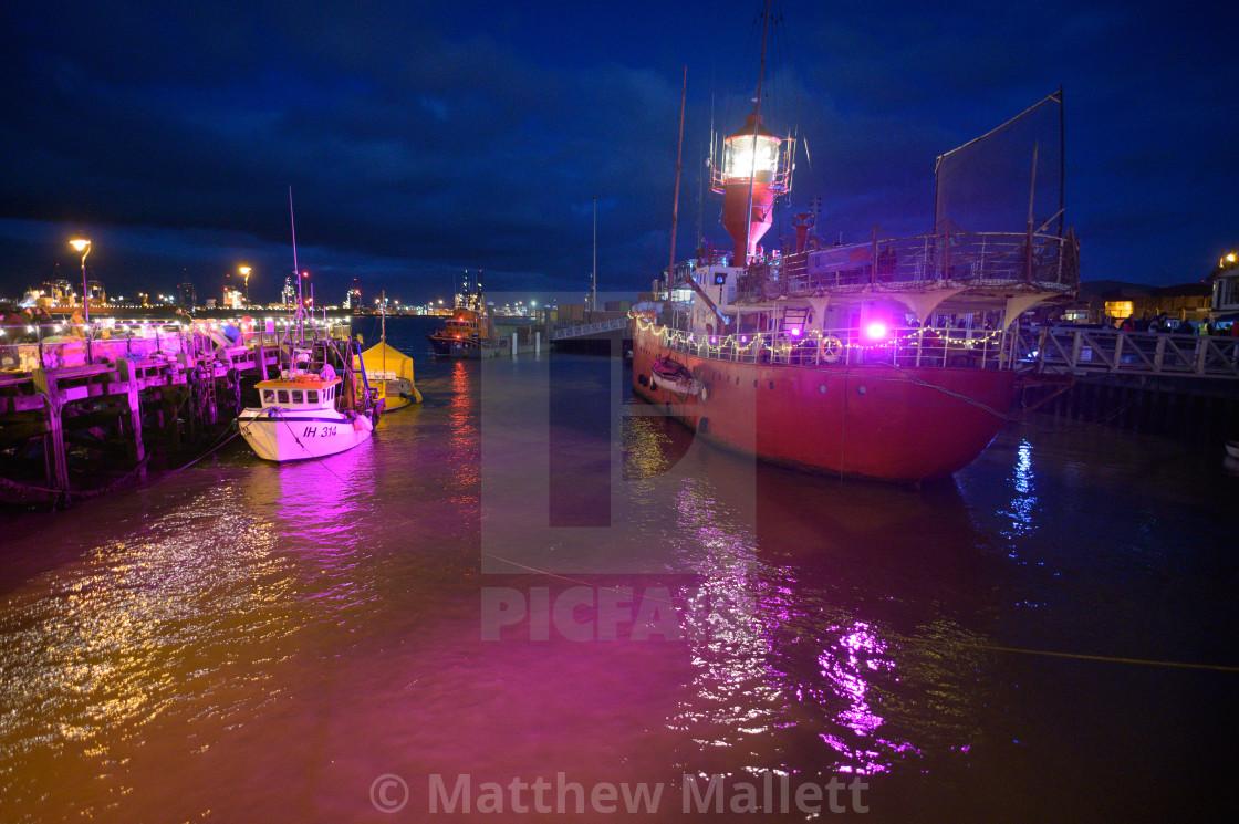 """""""Ha penny Pier Harwich Illuminations"""" stock image"""