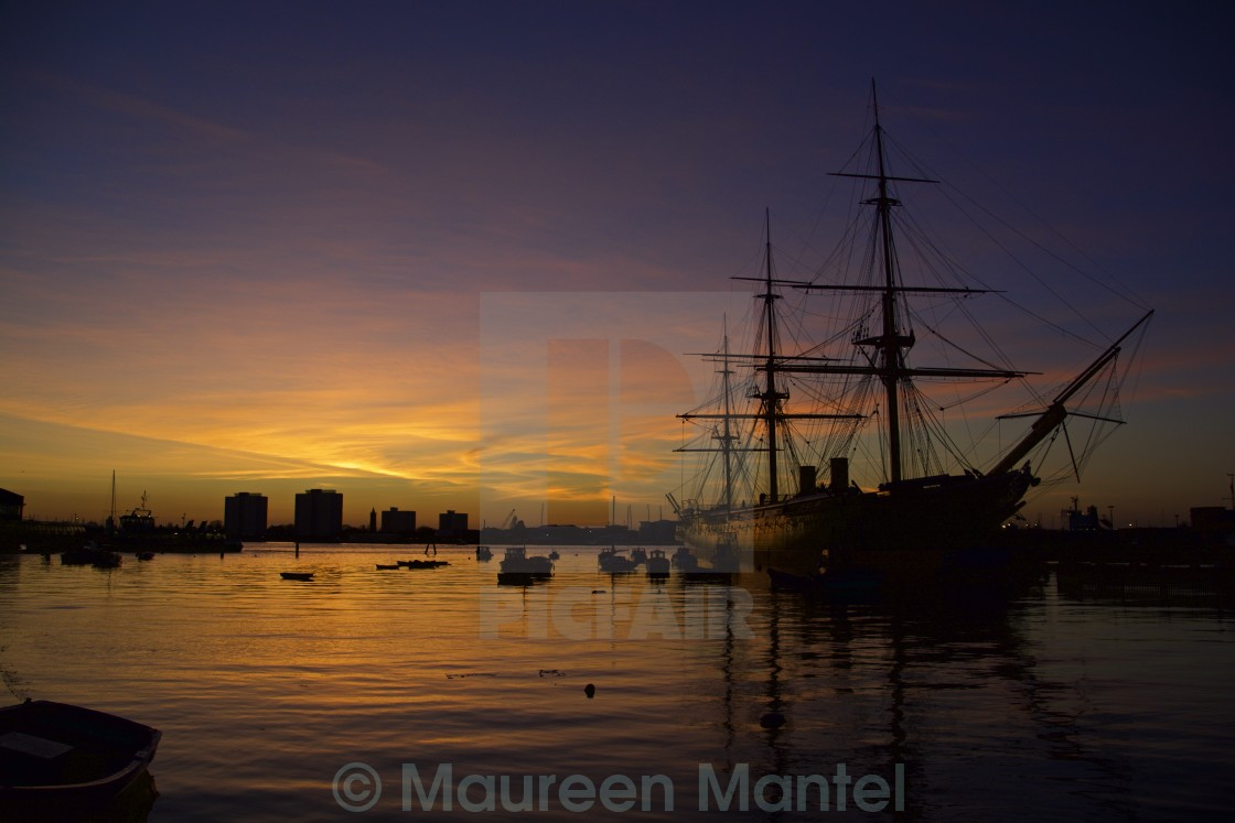 """HMS Warrior at Sunset"" stock image"