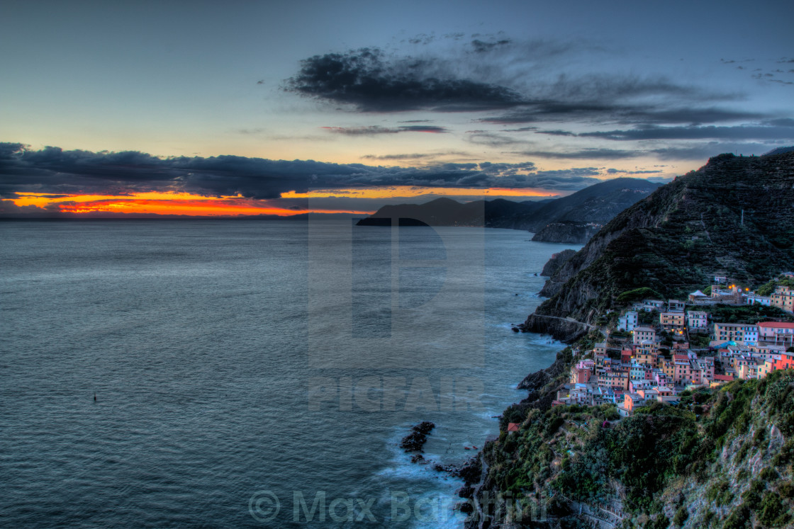 """Riomaggiore at sunset"" stock image"