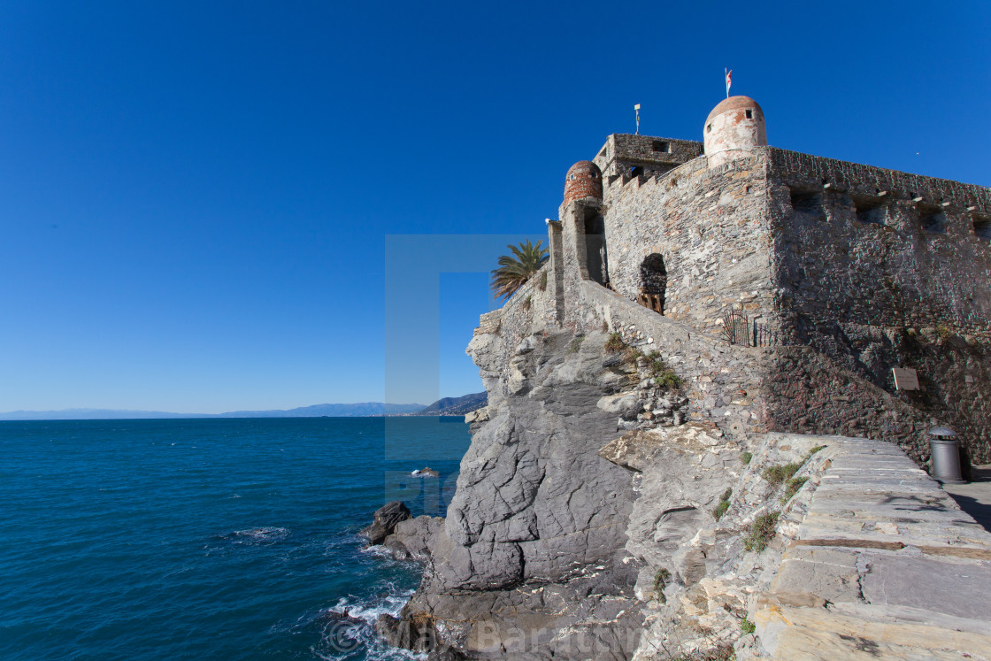 """Castello della Dragonara or Castel Dragone. Of medieval origin was built in XII century . Here camogliesi met to elect their representatives or retreated in times of danger, within the walls."" stock image"