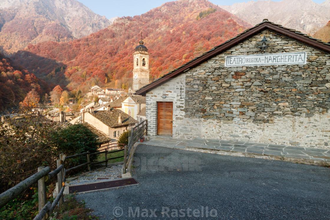 """Rustic alpine theatre in autumn season"" stock image"