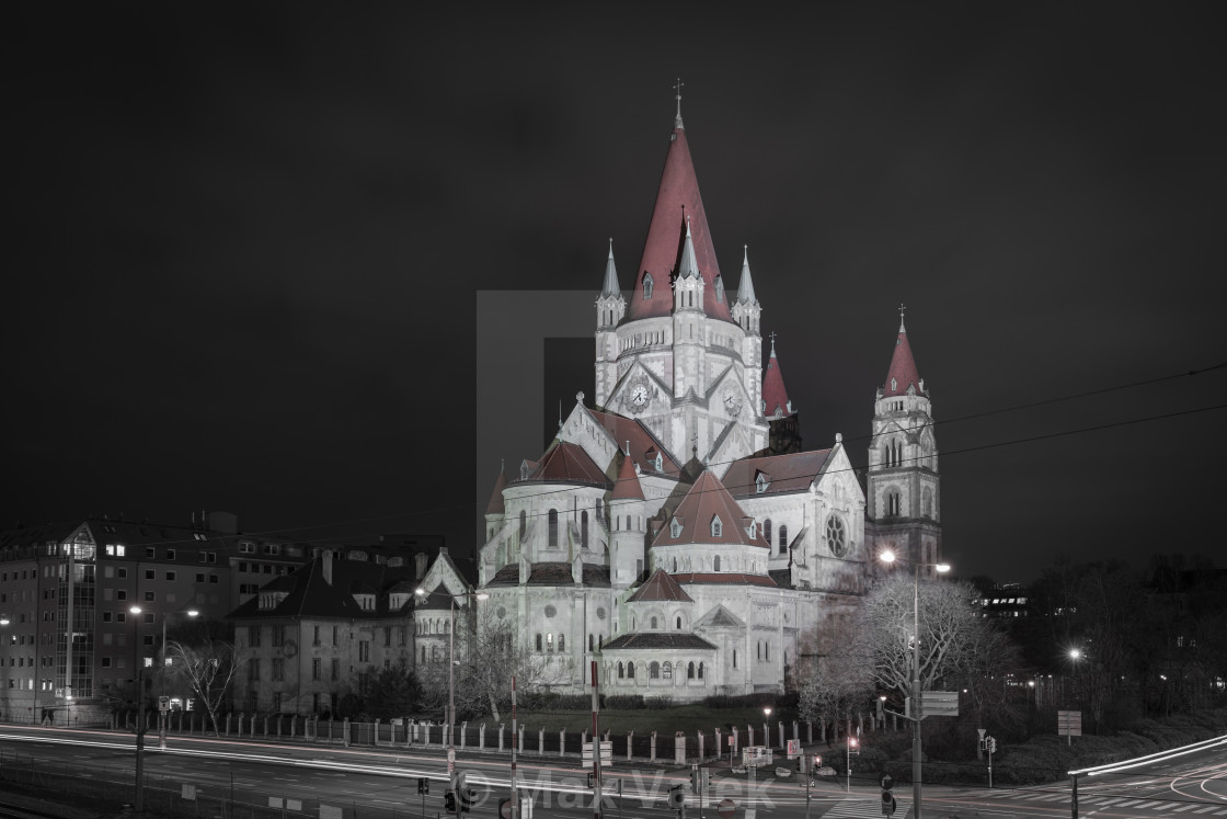 """Church at night"" stock image"