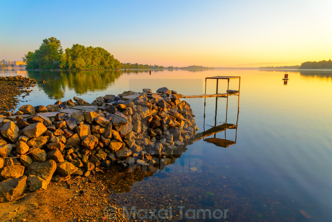 """Footbridge on the River"" stock image"