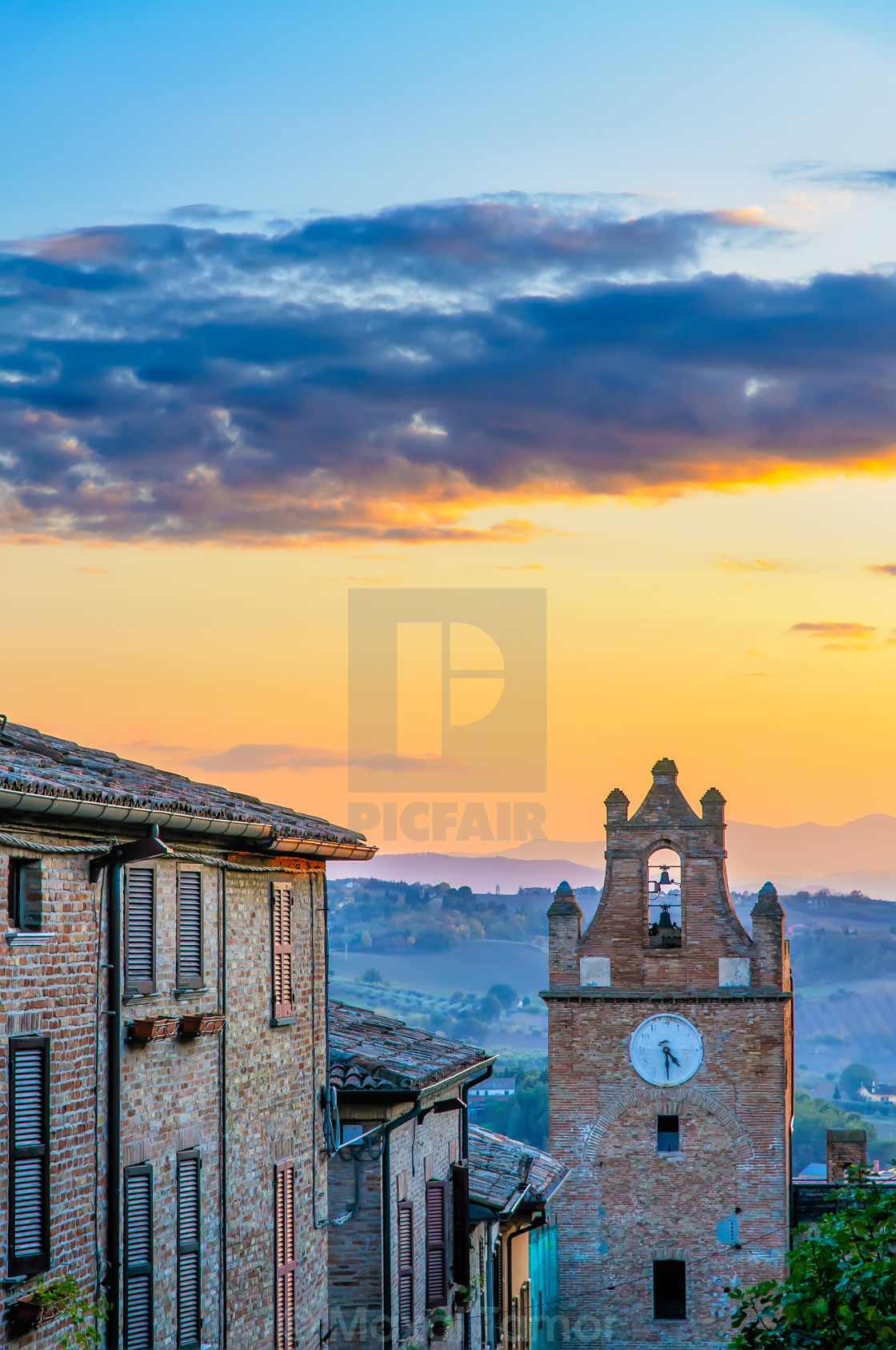 """Sunset Over Gradara"" stock image"