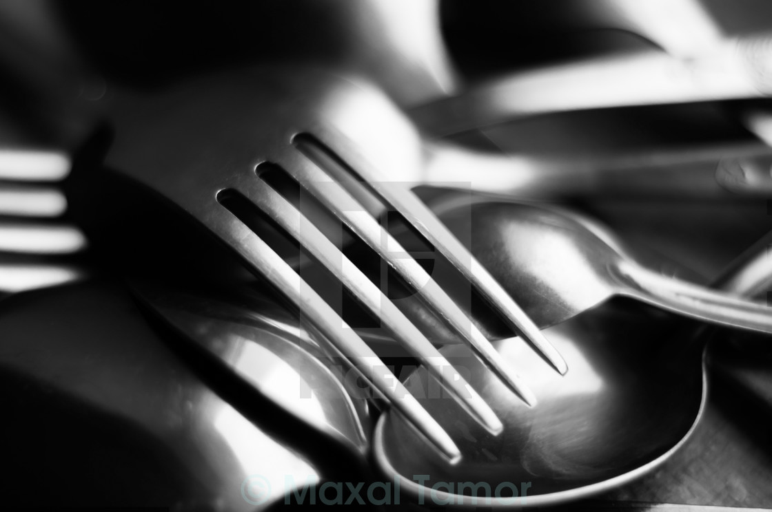 """Abstract Black and White Forks"" stock image"