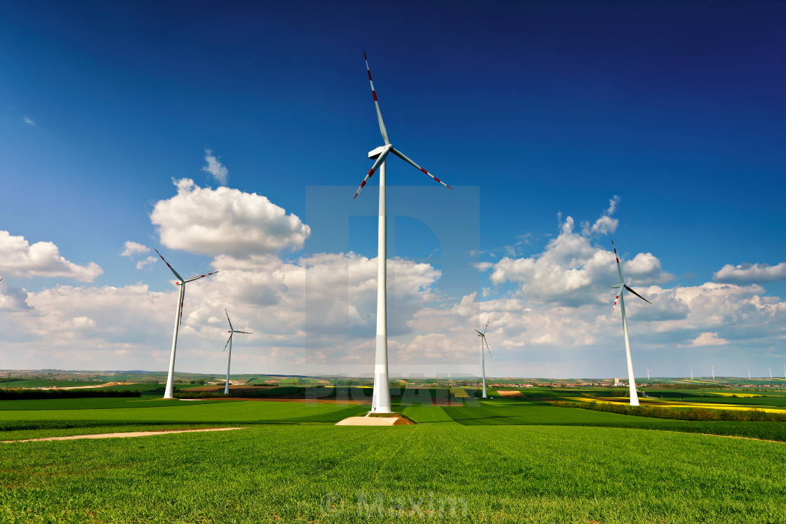 Eco Power Wind Turbines Generating Electricity License For Stock Image