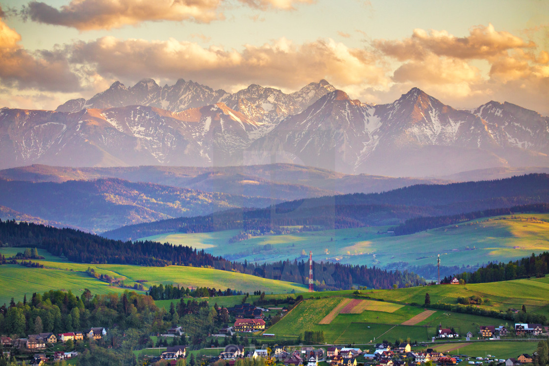 """Spring sunset in Tatra Mountains, Pieniny range"" stock image"