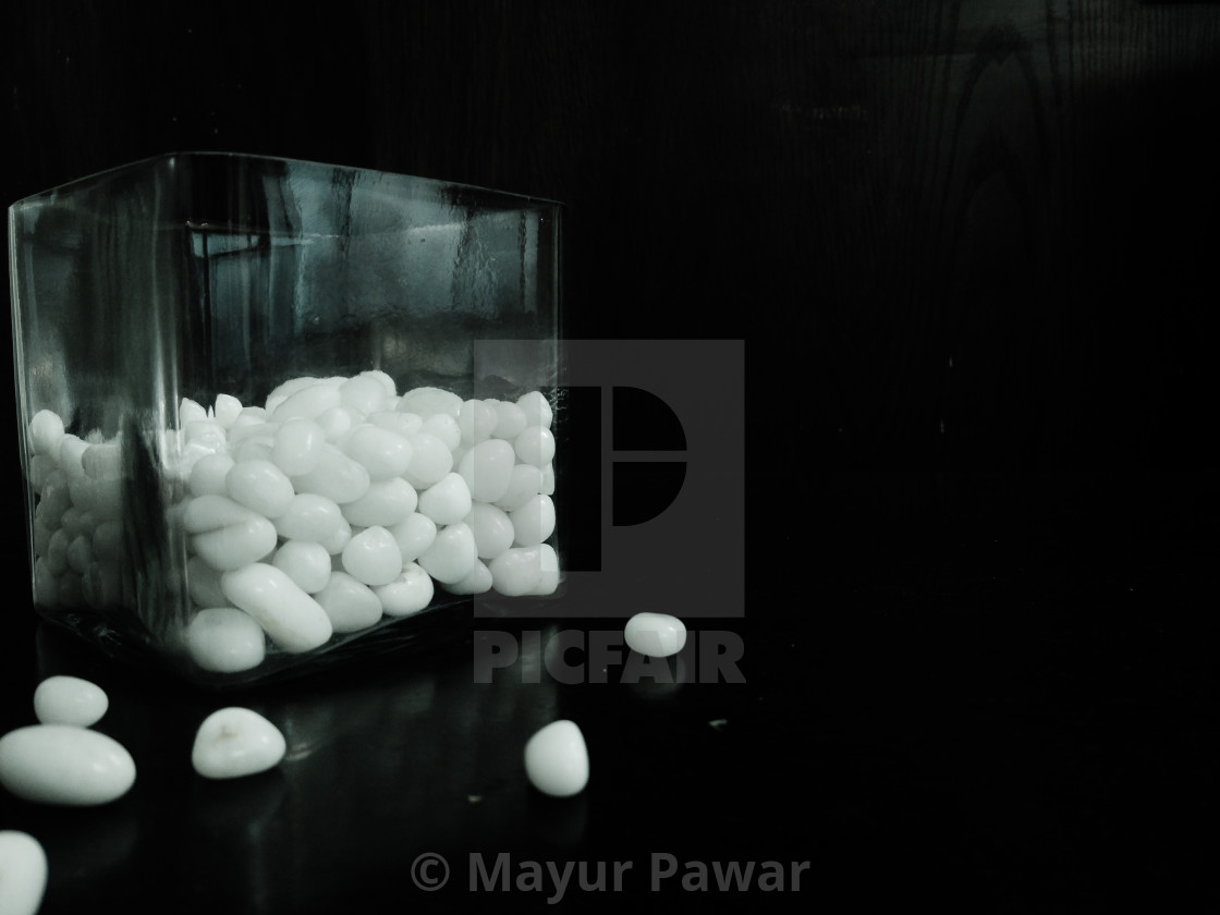 glass with white medicines tablets - License, download or print for