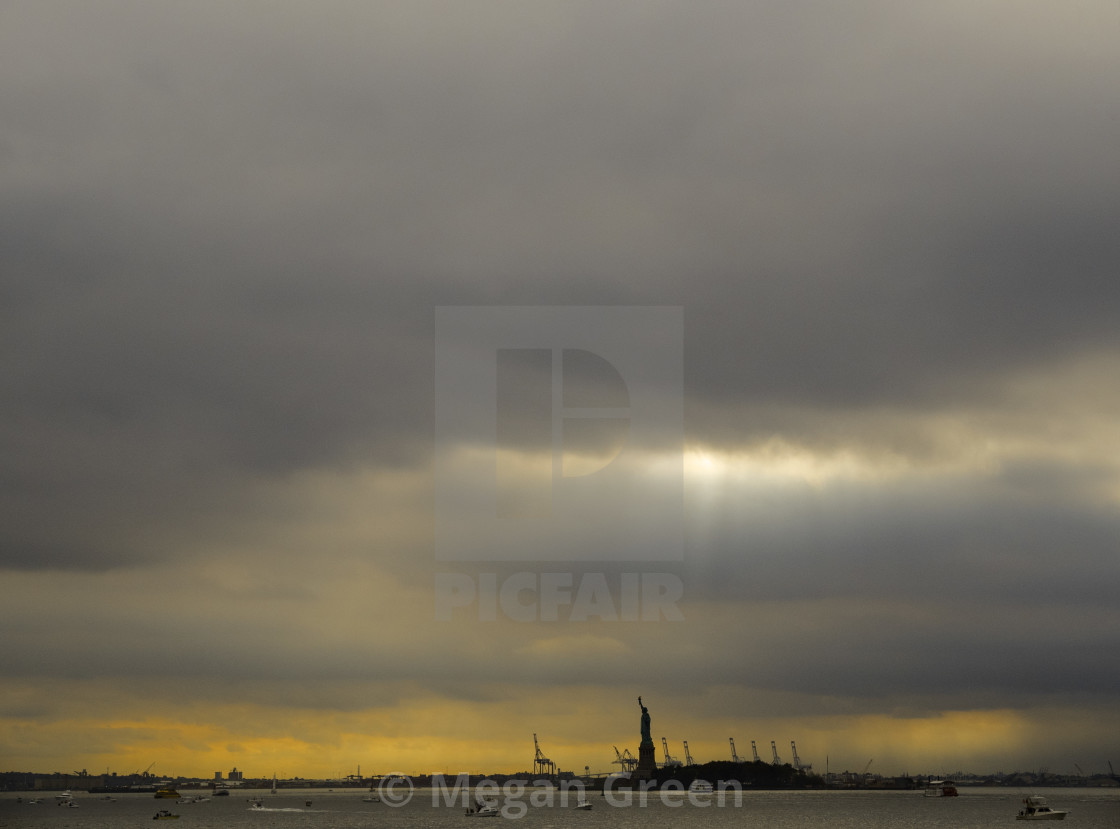 """New York Harbor and Lady Liberty"" stock image"
