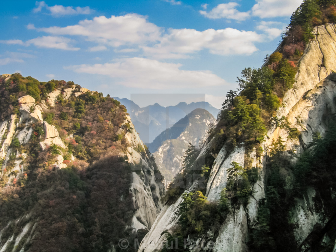 """Mountain landscape view from sacred mountain of Mt. Huashan, Sha"" stock image"