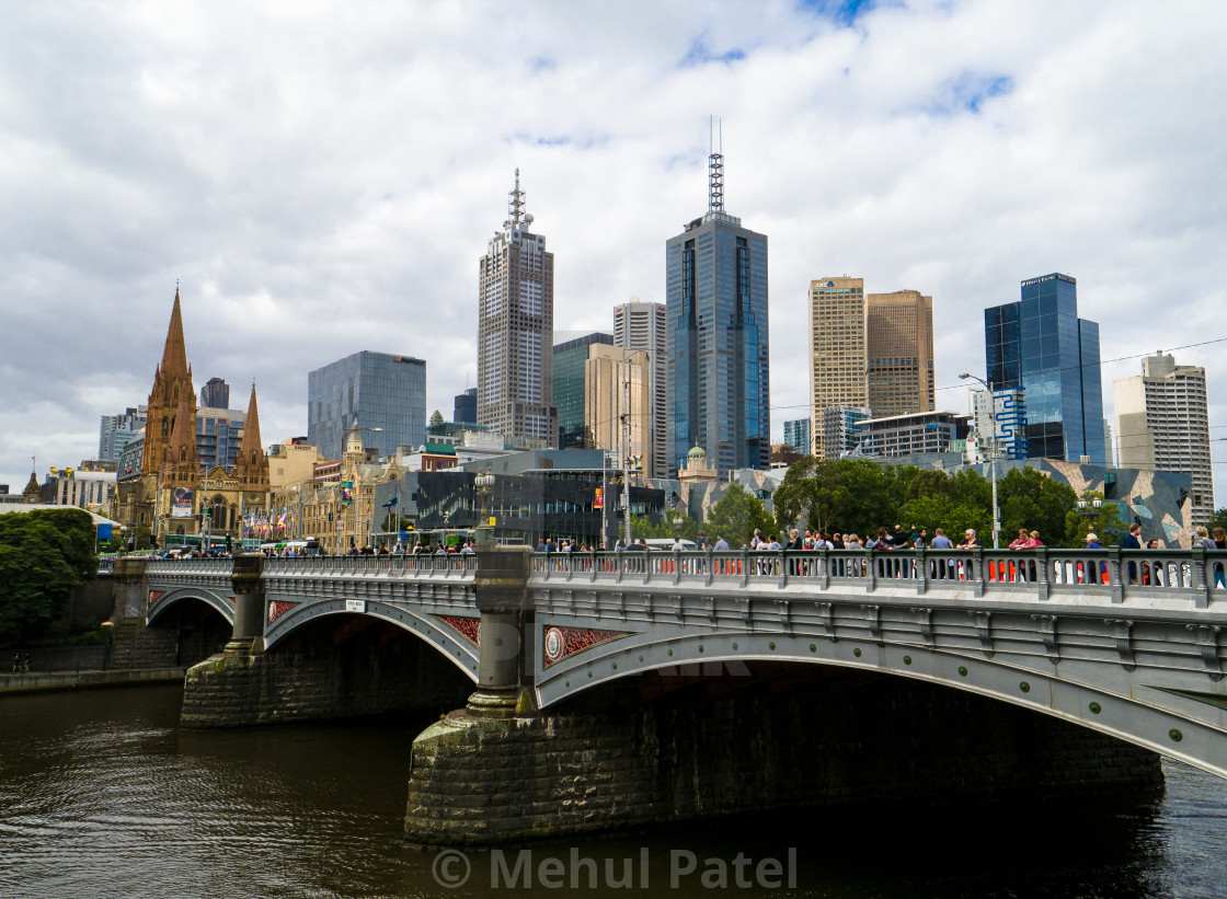 Melbourne city skyline by Princes Bridge, Melbourne