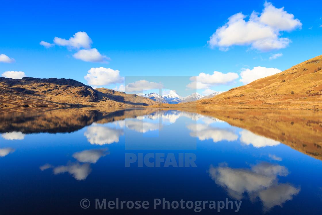 """Lock Arklet Reflection Scotland"" stock image"