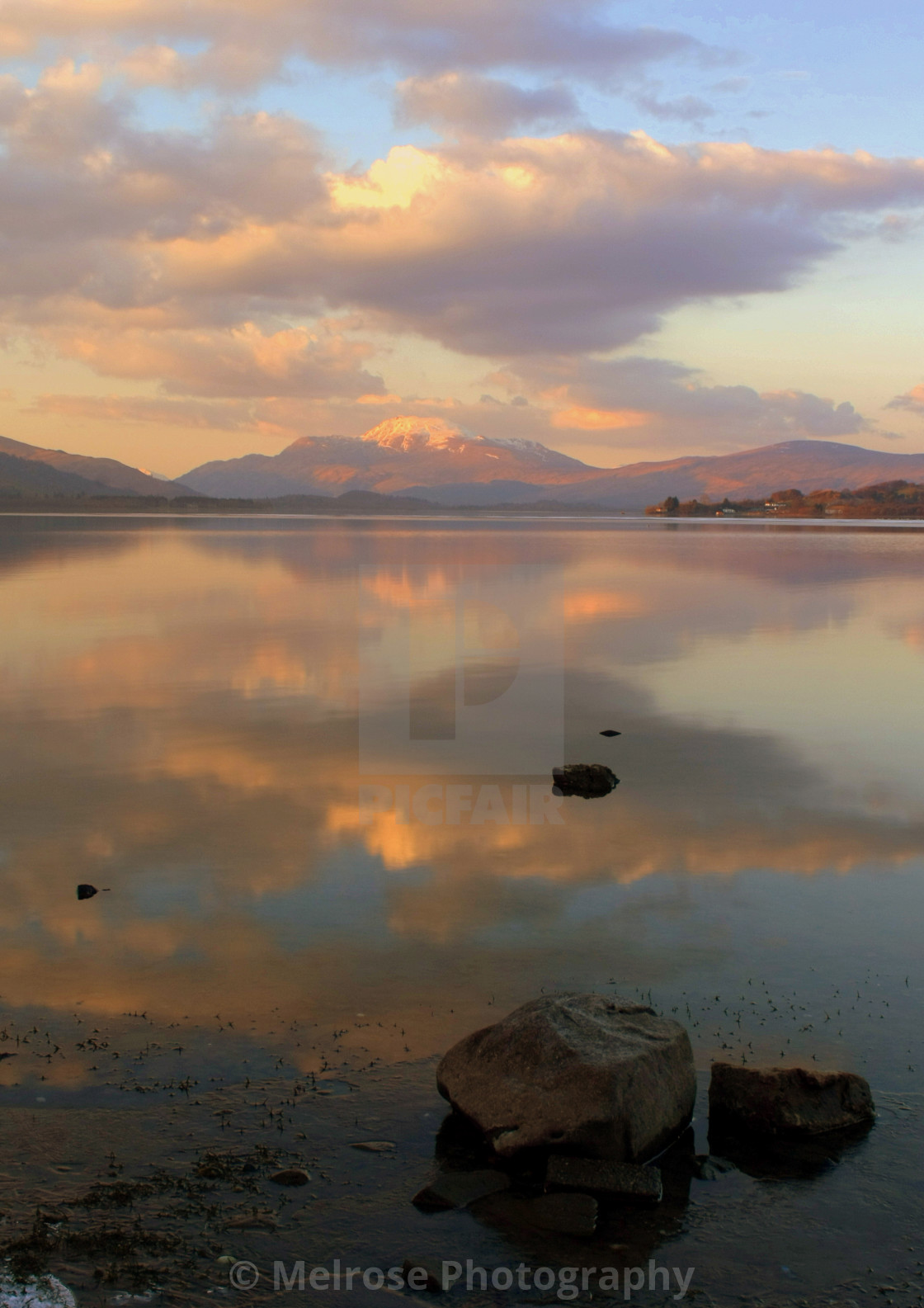 """Loch Lomond Sunset reflection"" stock image"