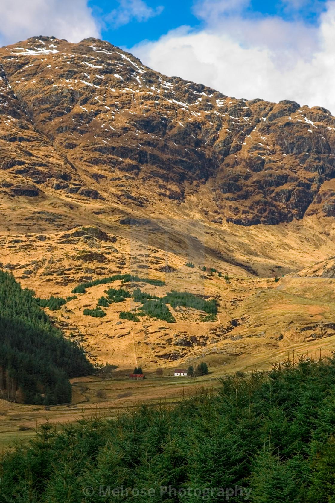 """""""Rest and Be Thankful Glencoe Cottage, Scotland"""" stock image"""