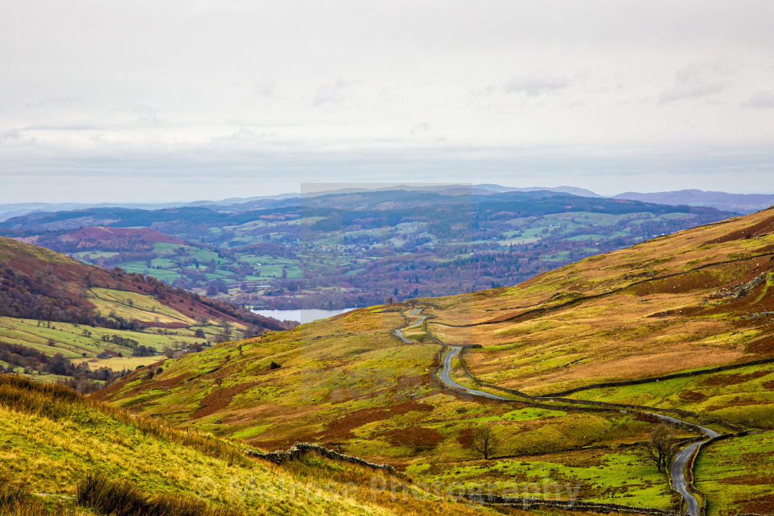 """""""Mountain view into the distance cumbria"""" stock image"""