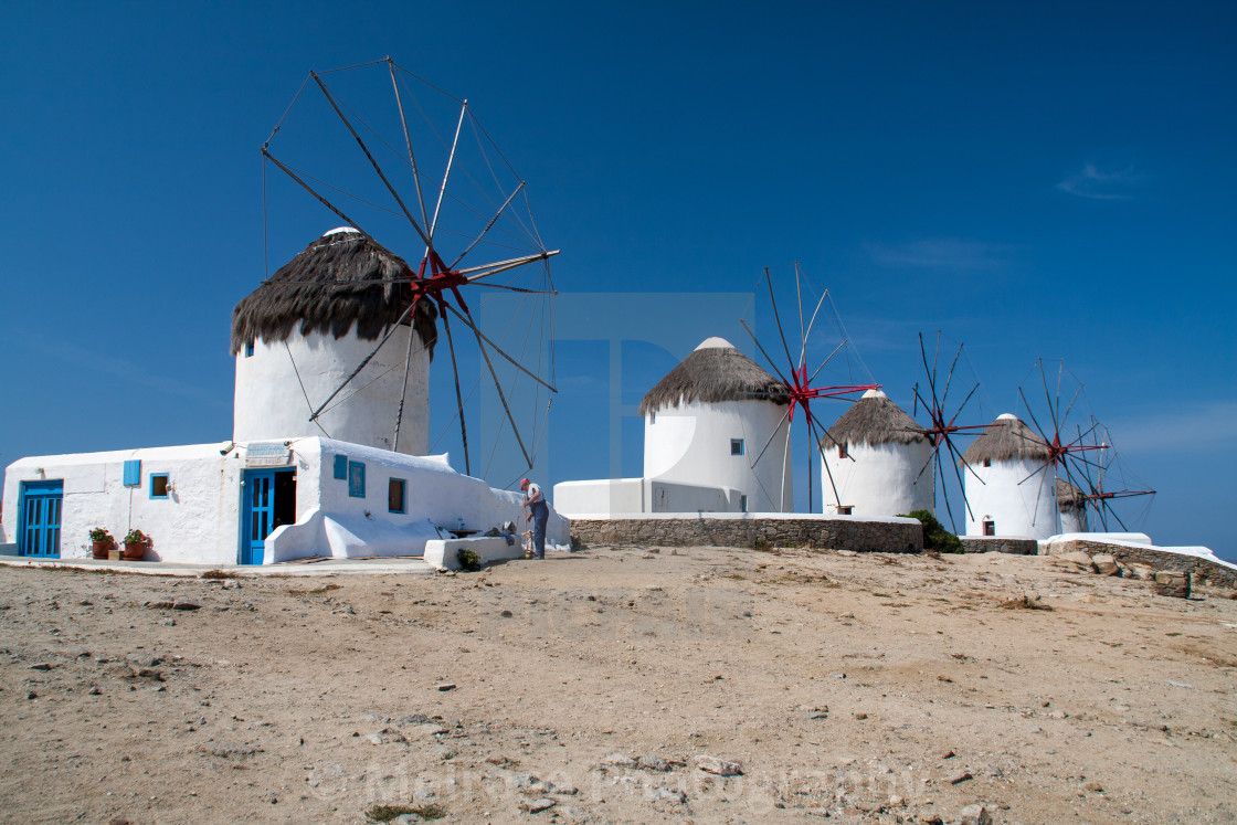 """Windmills of Mykonos"" stock image"