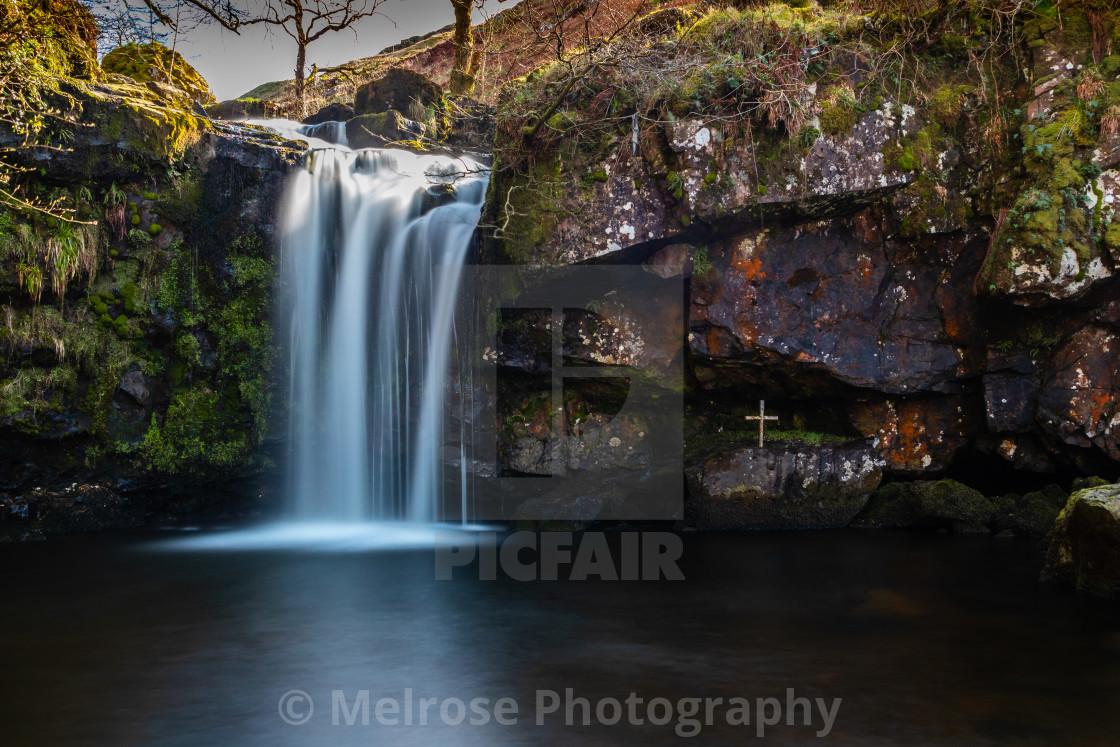 """Waterfall in the hillside, Campsie Hills Scotland"" stock image"