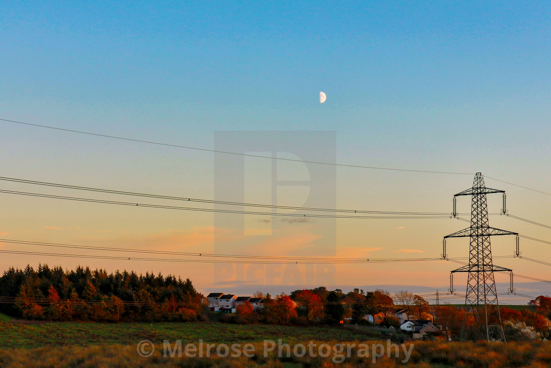 """""""Looking over to Glenboig from the back road in"""" stock image"""